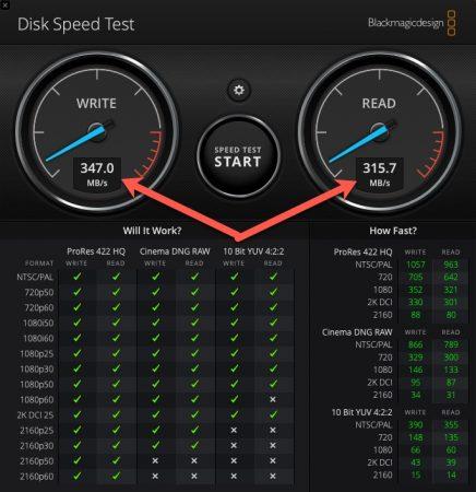 USB-C Hub von AGPTEC SSD Speedtest