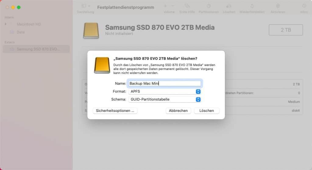 Externe SSD Dateiformat auswählen und löschen