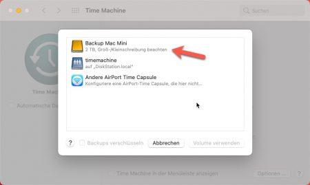 Time Maschine Backup Volume auswählen