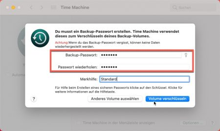 Time Maschine Backup Passwort vergeben.
