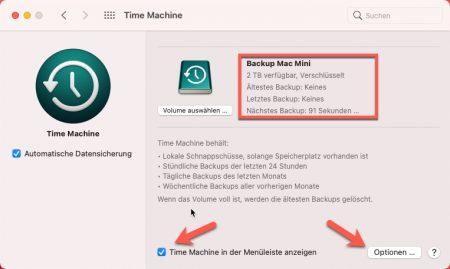 Time Maschine Backup Optionen aufrufen