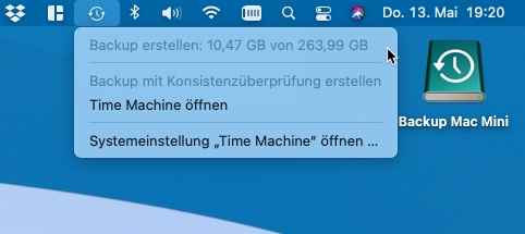 Time Maschine in der Menüleiste des Mac